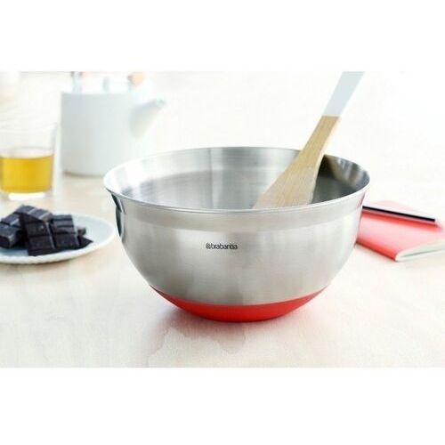 Brabantia - stalowa misa kuchenna 1.6l - czerwona silikonowa podstawa, 364365