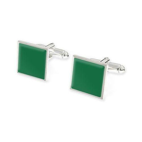 ZIELONE SPINKI DO KOSZULI styl wojskowy kolor zielony styl klasyczny kwadrat