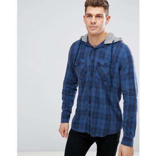 New Look Regular Fit Check Shirt With Hood In Navy - Blue, kolor niebieski