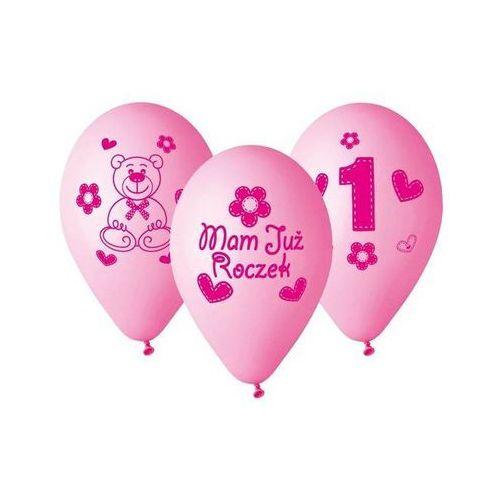 """Go Balony z nadrukiem dla dziewczynki """"mam już roczek"""" - 30 cm - 5 szt."""