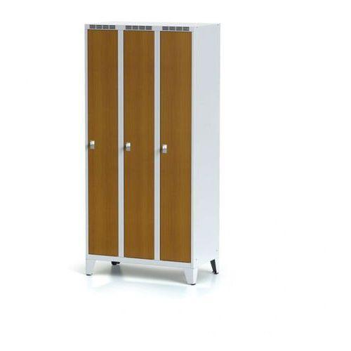 Szafka ubraniowa, 3-drzwiowa, drzwi LPW, czereśnia, na nogach, zamek cylindryczny