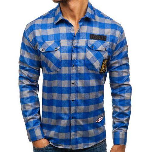 Northist Koszula męska flanelowa z długim rękawem niebiesko-szara denley 2503