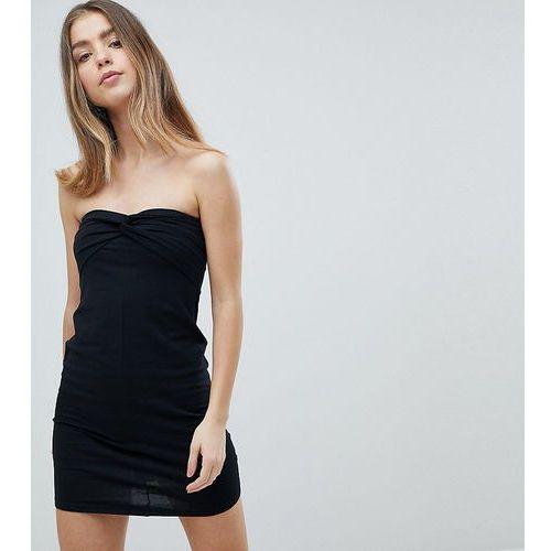 ASOS PETITE Mini Twist Front Bandeau Dress - Black, kolor czarny