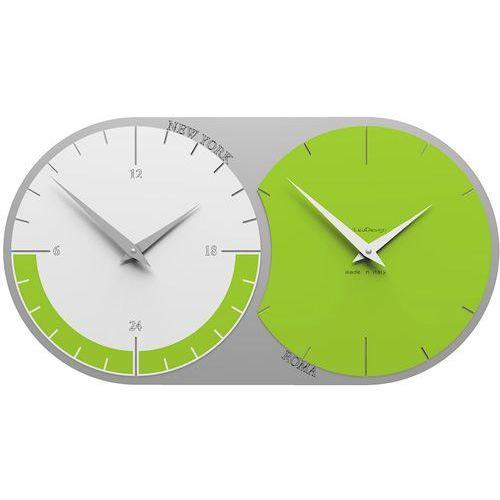 Zegar ścienny - 2 strefy czasowe World Clock CalleaDesign zielony / biały (12-009-76), kolor zielony