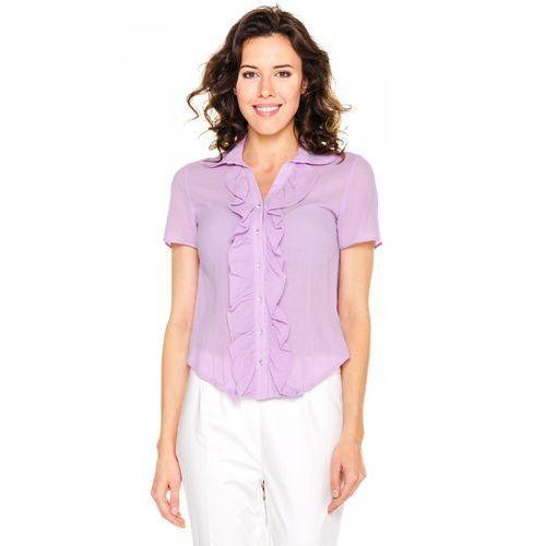 Fioletowa bluzka z ozdobnym żabotem - Duet Woman