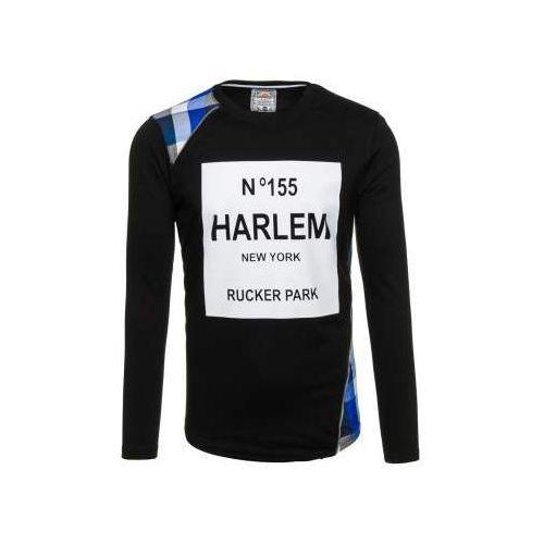 Bluza męska bez kaptura z nadrukiem czarno-niebieska Denley 0756, kolor czarny