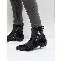 rocky leather zip boots in black - black, Walk london