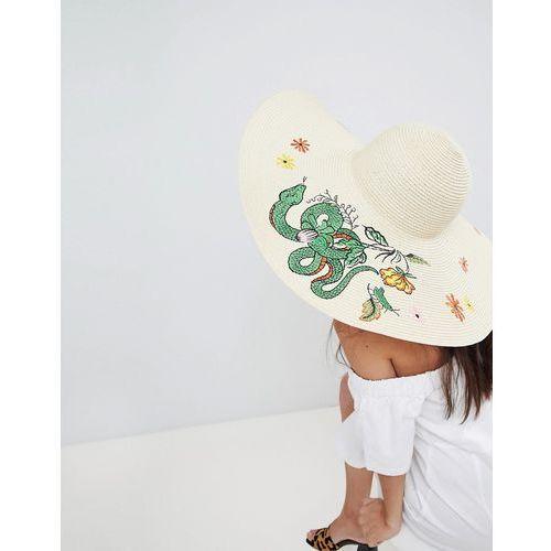 straw embroidered floppy hat with size adjuster - beige marki Asos