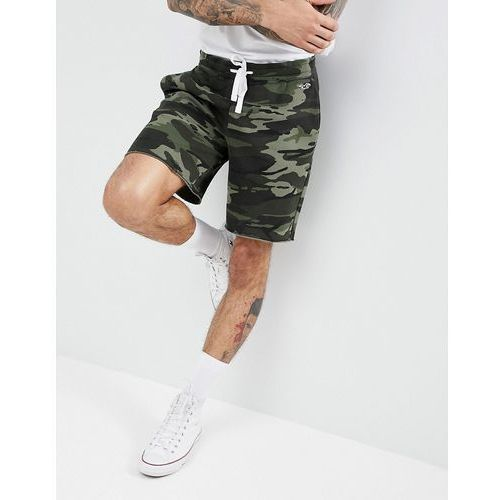 Hollister Camo Print Icon Seagull Logo Sweat Shorts in Olive Green - Green