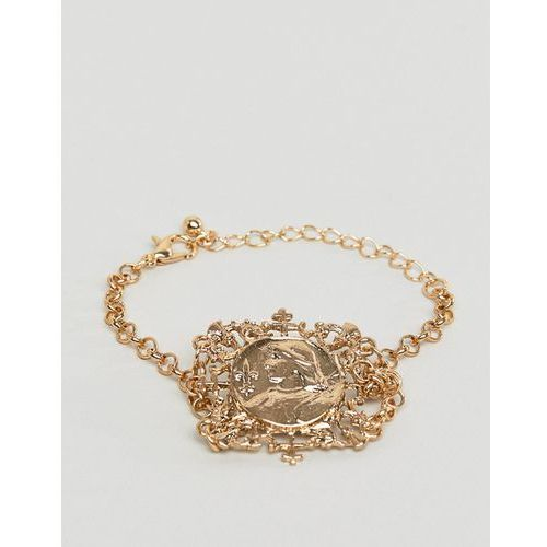 bracelet with vintage style filigree icon square pendant in gold - gold marki Asos design