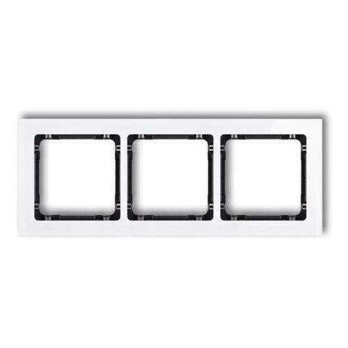 KARLIK DECO 0-12-DRS-3 Ramka uniwersalna 3-krotna - efekt szkła (ramka: biała; spód: czarny) biały, 0-12-DRS-3