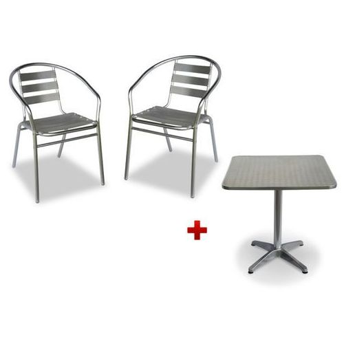 Zestaw ogrodowych mebli jadalnianych montmartre z aluminium: mały kwadratowy stolik i 2 krzesła marki Vente-unique