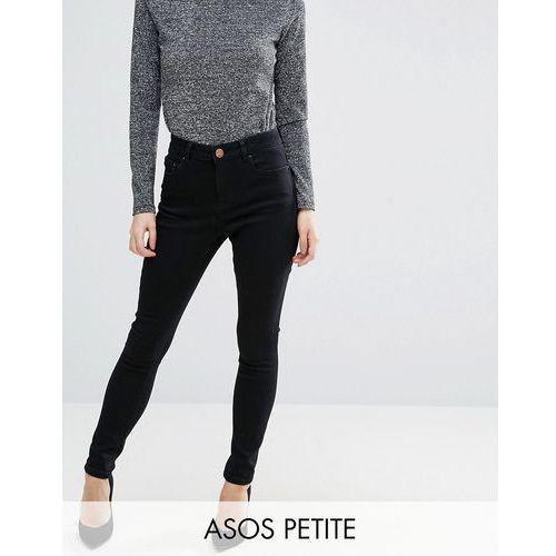 ASOS PETITE 'Sculpt Me' High Rise Premium Jeans in Clean Black - Black, jeans