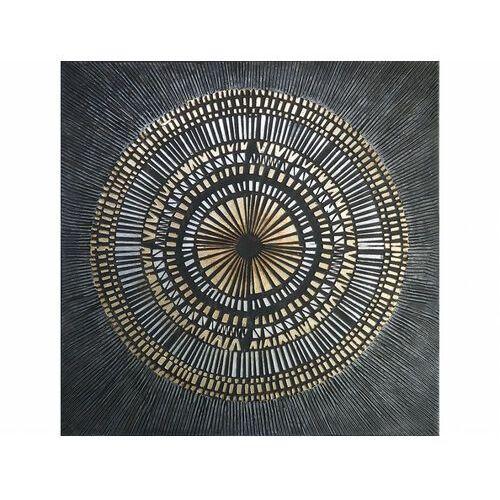 Obraz olejny riad - konstrukcja z drewna sosnowego - 100x100 cm - kolor czarny i złoty marki Vente-unique