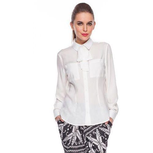 Koszula ecru z wiązaną kokardą -  marki Duet woman