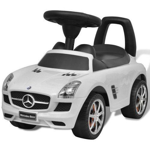 Vidaxl  mercedes benz - samochód zabawka dla dzieci napędzany nogami biały (8718475887508)