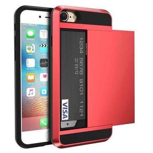 Etui typu zbroja z miejscem na kartę kredytową dla iPhone 7 - Czerwone - Czerwony \ iPhone 7, kolor czerwony