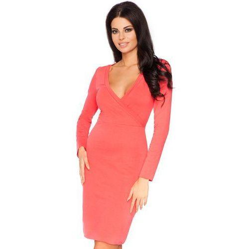 Koralowa Wizytowa Sukienka Ołówkowa z Kopertowym Dekoltem z Długim Rękawem, kolor czerwony