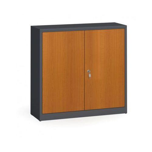 Szafy spawane z laminowanymi drzwiami, 1150 x 1200 x 400 mm, RAL 7016/czereśnia