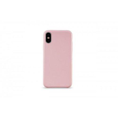 KMP Leather Case do iPhone X skórzane różowe, kolor różowy