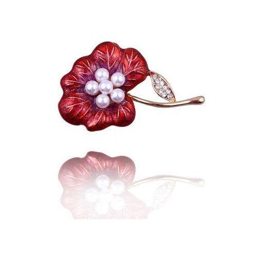 Broszka damska czerwony kwiat z perełkami i cyrkoniami - czerwony ||biały marki Polska