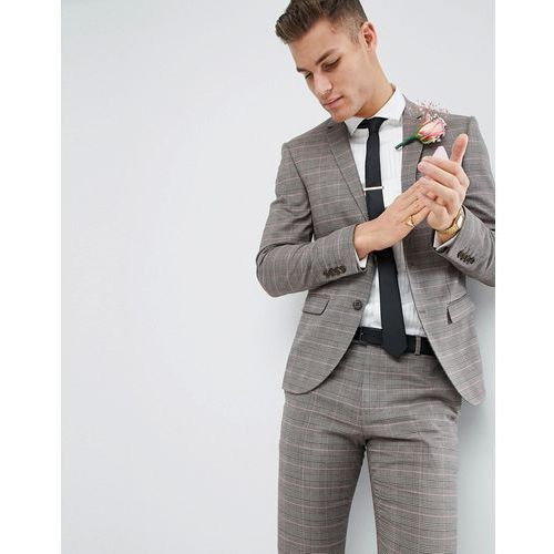 wedding skinny fit suit jacket in brown and pink check - pink, River island