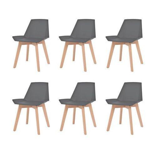 vidaXL Komplet 6 krzeseł, drewniane nogi i szare, plastikowe siedziska