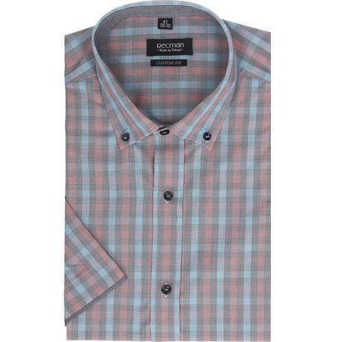 koszula bexley 2303 krótki rękaw custom fit czerwony, bawełna
