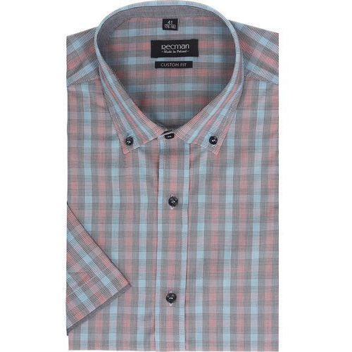 Koszula bexley 2303 krótki rękaw custom fit czerwony, Recman