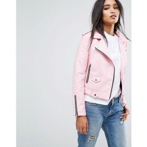 Mango faux leather biker jacket - pink