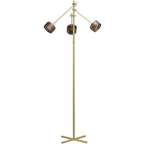 Złota lampa podłogowa LED regulowane ramiona i drewniane obudowy RegenBogen (725040803) (4250369173808)
