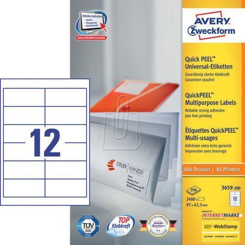 Etykiety uniwersalne Avery Zweckform trwałe 97 x 42,3mm 200 ark./op. 3659-200 (4004182249543)