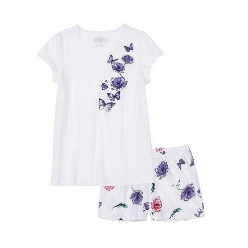 Piżama z krótkimi spodenkami biało-lila z nadrukiem, Bonprix, S-M