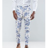 ASOS TALL Wedding Skinny Suit Trousers In Blue and White Cotton Floral Print - Blue, bawełna