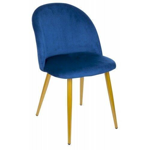 Krzesło welurowe foggie granatowe złote nogi marki Krzeslaihokery
