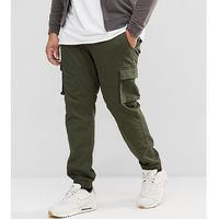 Only & sons plus cargo trousers with cuffed hem - green