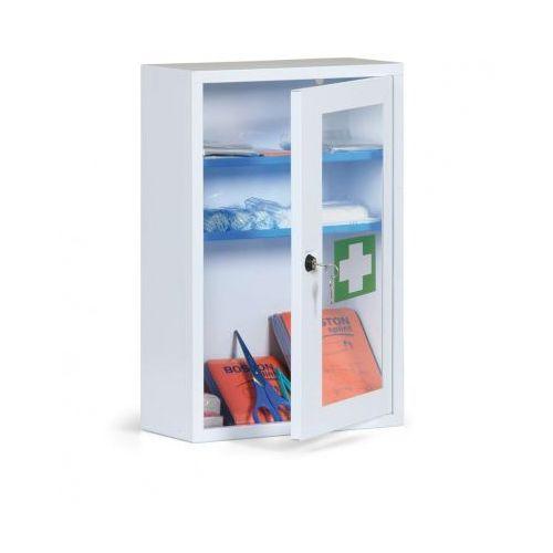 Metalowe apteczki ścienne ze szklanymi drzwiami, bez zawartości