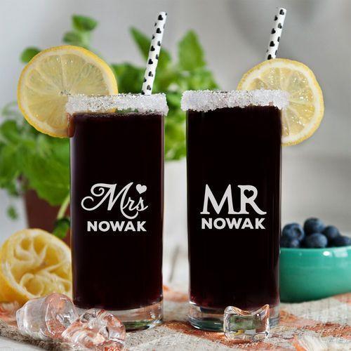 Mr&Mrs - Dwie grawerowane szklanki - Szklanki