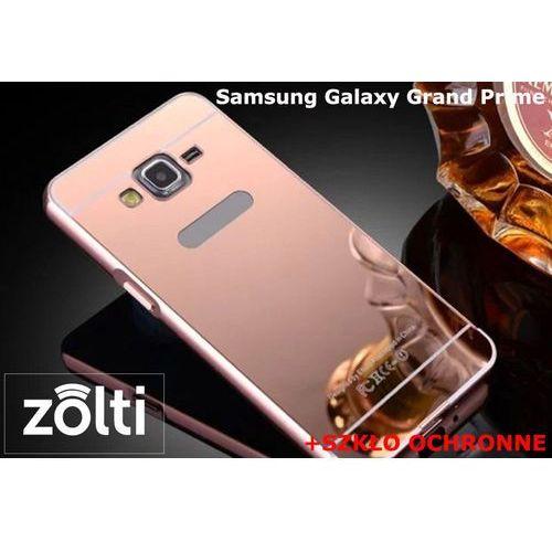 Zestaw | Mirror Bumper Metal Case Różowy + Szkło ochronne Perfect Glass | Etui dla Samsung Galaxy Grand Prime, kolor różowy