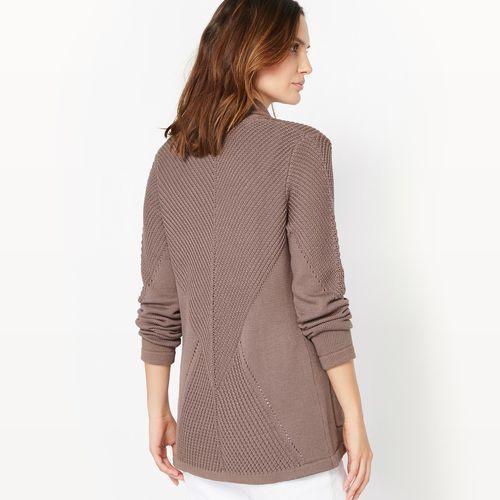 Sweter rozpinany z fantazyjnej dzianiny marki Anne weyburn