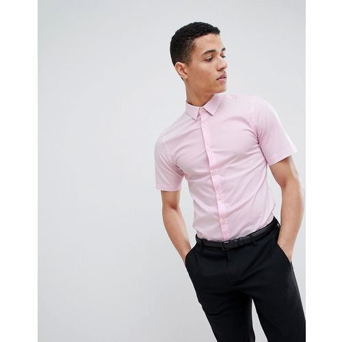 French Connection Plain Poplin Stretch Short Sleeve Shirt - Pink, kolor różowy
