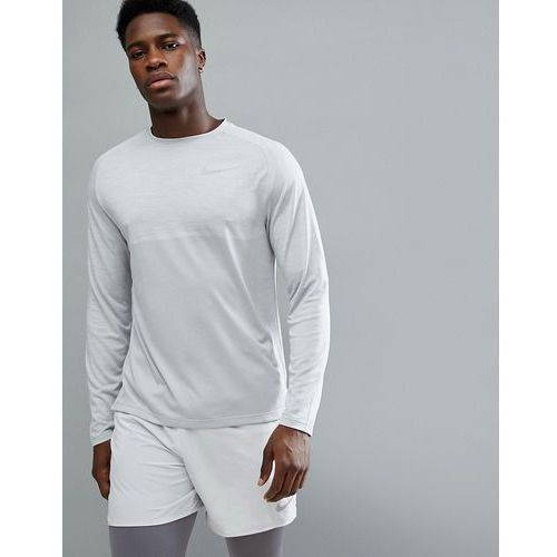 Nike running dry medalist knitted long sleeve top in grey 891424-027 - grey