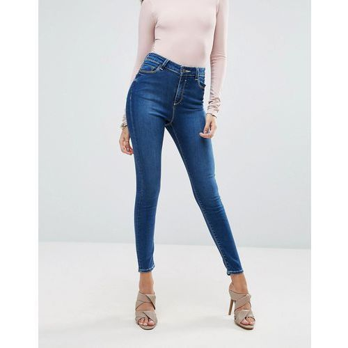 ASOS RIDLEY Skinny Jeans in Hester Dark Stonewash with Contrast Threads - Blue