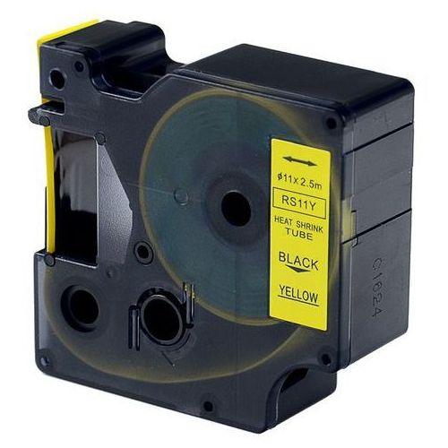 Rurka (koszulka) termokurczliwa zamiennik do Dymo, średnica 11mm, szer. wydruku 19mm, dł. 2.5m, żółta czarny nadruk RS11Y