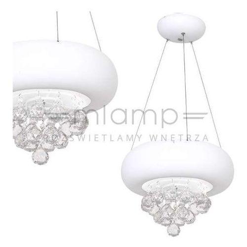 Milagro Lampa wisząca lux 0860 okrągła oprawa zwis led 18w z kryształkami crystal biała