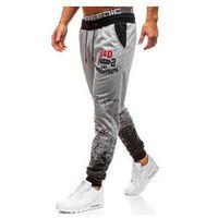 Spodnie męskie dresowe joggery szare Denley KK503, kolor szary
