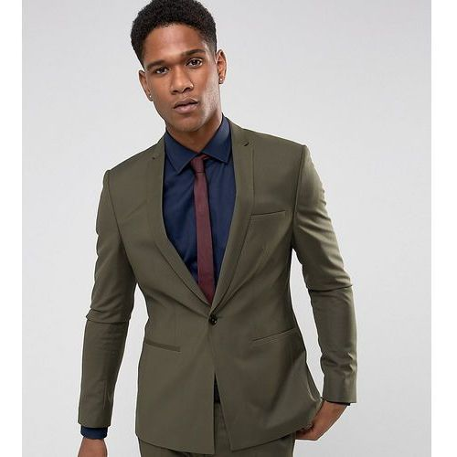 super skinny suit jacket with square hem in khaki - green, Noak