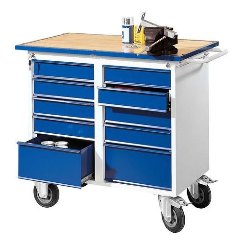 Mobilny stół narzędziowy FLEX, 10 szuflad, 1100x595x900 mm