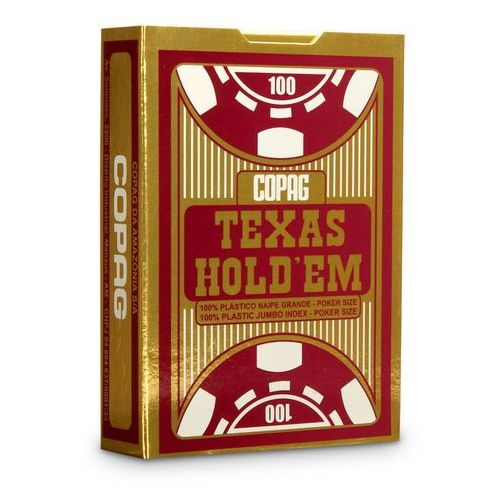 Talia Texas Hold'em 100% plastic jumbo index - czerwona - Cartamundi
