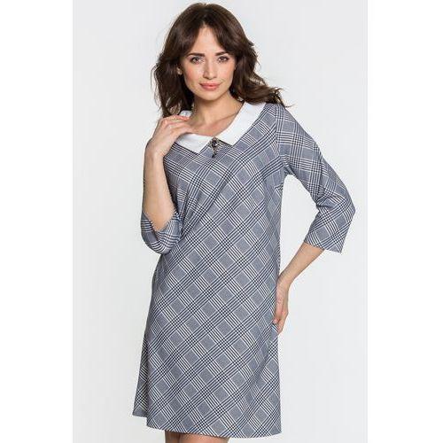 Sukienka w kratkę księcia walii - Margo Collection, kolor szary